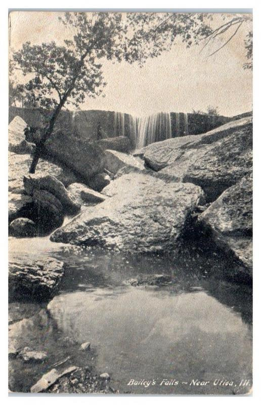 1907 Bailey's Falls near Utica, IL Postcard