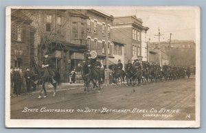 BETHLEHEM PA STEEL CO. STRIKE MOUNTED POLICE ANTIQUE REAL PHOTO POSTCARD RPPC