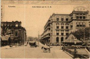 PC CPA SRI LANKA, CEYLON, COLOMBO, YORK STREET AND G.O.H., Postcard (b12884)