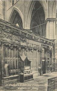 London UK~St Edward's Screen & Coronation Chair in Westminster Abbey 1910 B&W