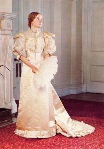 Postcard Fashion Evening Dress 1894-95 Duchesse Satin, by Debenham & Freebody #D