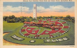 Hillcrest Park Cemetery Floral Clock and Chime Tower Springfield, MA, USA 195...