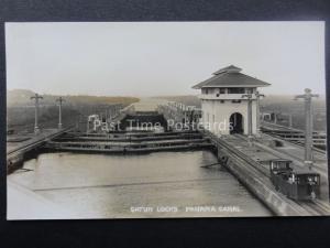 Central America THE PANAMA CANAL Inside Gatun Locks - Old RP Postcard
