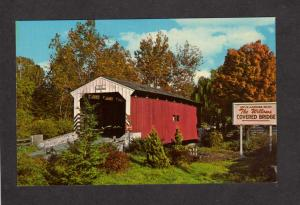 PA Amish Country Willows Covered Bridge Lancaster Pennsylvania Postcard