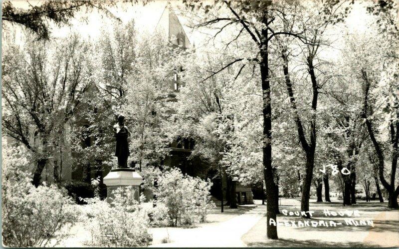 Vtg RPPC Alexandria Minnestota MN 1940s Douglas County Court House Snow Scene