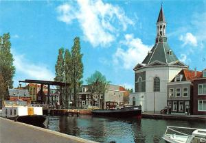 Netherlands Leidschendam Sluisbrug met Ned. Herv. Kerk Church Boats