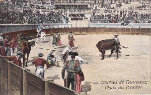 Bull Fighters in arena, Spectators, Horse-back riders, Courses de Taureaux, C...