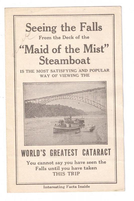 Maid of the Mist Vintage Brochure Niagara Falls New York