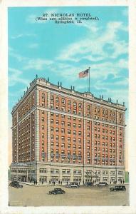 Springfield Illinois~St Nicholas Hotel~Proposed Addition~Cars~1920s Postcard