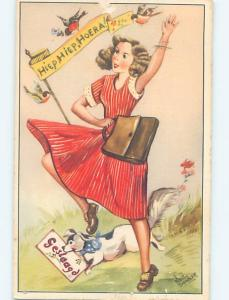 1960 fashion foreign signed WOMAN IN RED DRESS WITH HANDBAG PURSE AND DOG HL8411