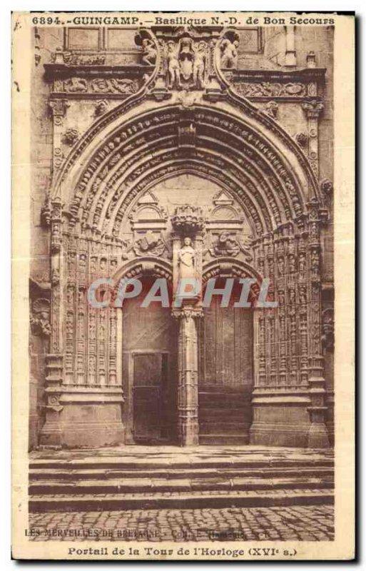 Old Postcard Guingamp Notre Dame de Bon Secours Tower Gate Clock