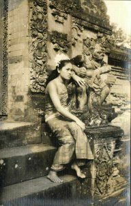 indonesia, BALI, Beautiful Native Girl at a Temple (1940s) RPPC Postcard