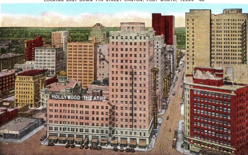 P1240 linen postcard 7th street fort worth texas, hollywood theatre view