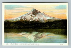 Lost Lake OR-Oregon, Reflection Of Mount Hood, Vintage c1907 Postcard
