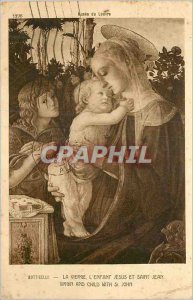Old Postcard Louvre Museum Botticelli The Virgin The Infant Jesus and St. John