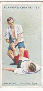 Cigarette Card Player and Sons Wrestling & Ju-Jitsu 1913 No 21 Japanese Leg Lock