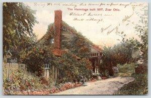 Zoar Ohio~Oldest House in Village: Hermitage~For Few Days Rest~1907 NICE Cancel