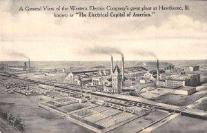 Hawthorne Illinois aerial view Western Electric Co plant antique pc ZE686160
