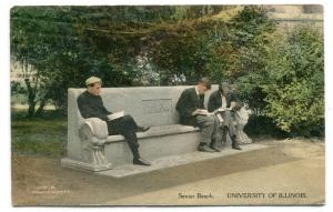 Senior Student Bench University Illinois Urbana Champaign 1913 postcard