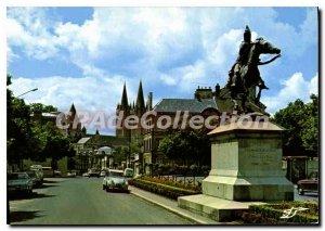 Postcard Moderne Caen Normandy Place St Martin Statue Of Connetable Duguesclin