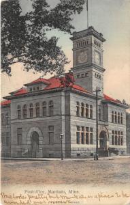 Mankato Minnesota~US Post Office~Clock Tower~Man @ Stairway~1908 Postcard