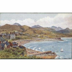 J. Salmon Artist Signed A.R. Quinton Postcard 'Criccieth Bay from the Castle'