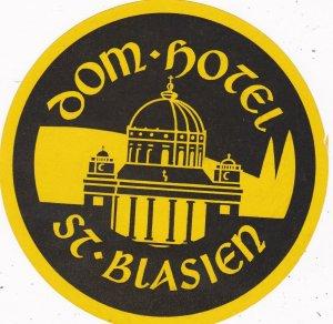 Germany St Blasien Dom Hotel Vintage Luggage Label sk2838