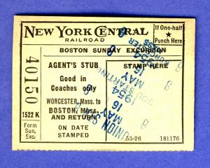 1954 New York Central Railroad Ticket, Boston-Worcester, MA