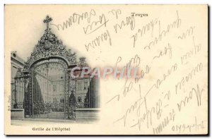 Postcard Old Troyes Grid of & # 39Hopital