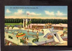 FL Lido Beach Casino Gambling Pool Sarasota Florida Linen Postcard