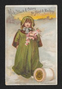 VICTORIAN TRADE CARD Coats' Thread Girl Winter Cape