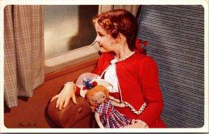 American Airlines Girl Doll Advertising Plane VINTAGE PLANE FLYING POSTCARD