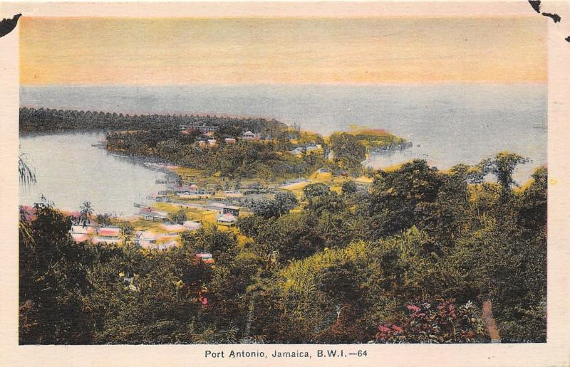 Port Antonio Jamaica~Aerial View Overlooking Town Along Shore~1930s Postcard