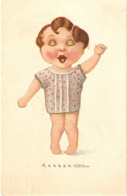 Comic little boy. A,a, a, a, chim...Humorous old wintageantique  postcard
