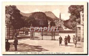 Old Postcard Lourdes De L & # 39Esplanade Entree And Basilica