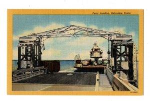 Vintage IC-H1585 Ferry Landing Galveston Texas Postcard Cars People #83075