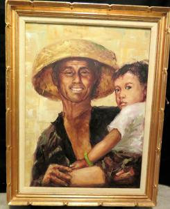 Artist KK Wong, Oil Painting of Asian man holding child,  Painting is in Fram...