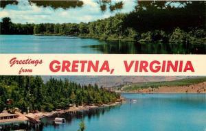 Gretna Virginia~Greetings Banner: Two Views of Lake 1959