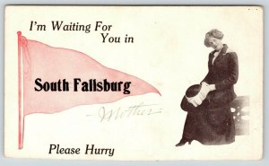 South Fallsburg NY~I'm Waiting For You, Mother, Please Hurry~Pink Pennant~c1913
