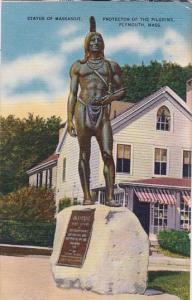 Massachusetts Plymouth Statue Of Massasoit Protector Of The Pilgrims