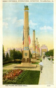 PA - Philadelphia. Sesqui-Centennial Int'l Exposition, 1926.  Pylons and Band...