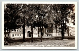 Cresco Iowa~Central School Building~Doors Open~Car~1930s RPPC