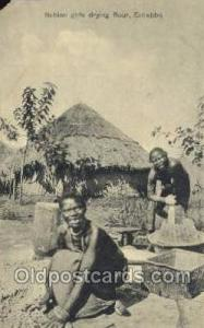 Nubian Girls Drying Flower, Entebbe African Life Postcard Post Card  Nubian G...