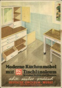 Mid-Century Kitchen D'cor Art Deco Adv Linoleum-Werke Litega Austrian Postcard