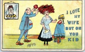 Artist-Signed CARMICHAEL Postcard I Love My Wife But Oh You Kid! 1912 Cancel