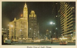 CHICAGO, Illinois; 1950-60s; Wacker Drive at Night, Looking East from State St.