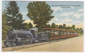 Miniature Railroad Steam Train Detroit Michigan linen postcard