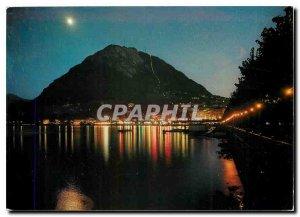 Postcard Modern Lungolago Lugano e S Salvatore di Notte