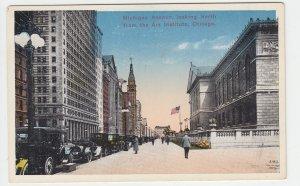 P2076, old postcard cars people flag etc michigan ave chicago ILL unused