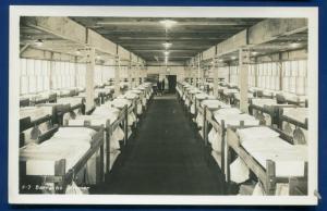Farragut Idaho US Naval Training Station Barracks Interior real photo postcard